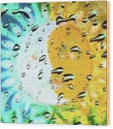 Moon And Sun Rainy Day Windowpane Wood Print