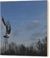 Moon And Windmill Wood Print