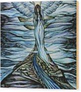 Moon Angel Wood Print