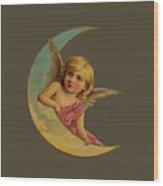 Moon Angel T Shirt Design Wood Print