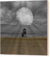 Moon Beams Wood Print
