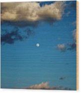Moon Between The Clouds Wood Print