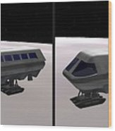 Moon Bus - Gently Cross Your Eyes And Focus On The Middle Image Wood Print