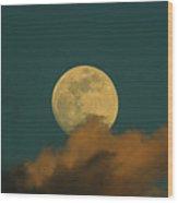 Moon Closeup On Dark Blue Sky, Behind The Clouds  Wood Print