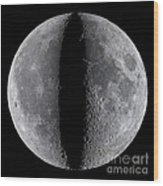 Moon Composite, First And Last Quarter Wood Print