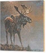 Moon Dusted Moose Wood Print
