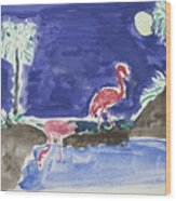 Moon Evening.flamingo. Water Color 1995 Wood Print