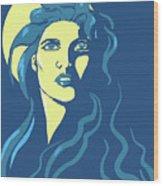 Moon Girl Wood Print