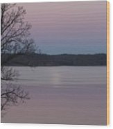 Moon In A Colorful Sky Over Kentucky Lake And Lbl A National Recreation Area Wood Print