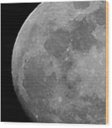 Moon In B And W Wood Print