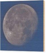 Moon In Blue Wood Print