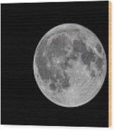 Moon In Night Sky Wood Print