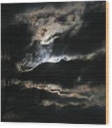 Moon In The Clouds Over Kentucky Lake Wood Print