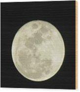 Moon In The Dark Sky Wood Print
