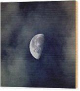 Moon In The Mist Wood Print