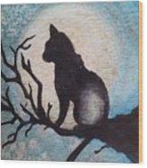 Moon Kitty Wood Print