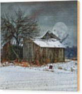 Moon Light Barn Wood Print