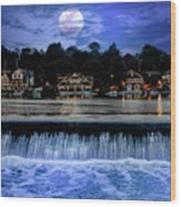 Moon Light - Boathouse Row Philadelphia Wood Print