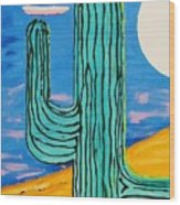 Moon Light Cactus L Wood Print