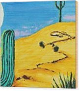 Moon Light Cactus R Wood Print