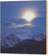 Moon Light Over The Alps Wood Print