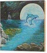 Moon Light Swim  Wood Print