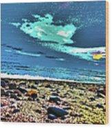 Moon Lit Beach, Bray, Wicklow, Ireland, Poster Effect1b Wood Print