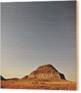 Moon Lit Castle Butte And Star Tracks In Scenic Saskatchewan Wood Print