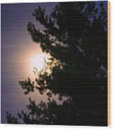 Moon Magical Glow Wood Print