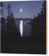 Moon On Lake Tahoe Wood Print