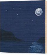 Moon On The Ocean Wood Print