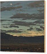 Moon Over Albuquerque Wood Print