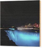 Moon Over Blue Niagara Wood Print