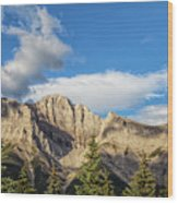 Moon Over Canmore Alberta Wood Print