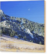 Moon Over Chautauqua Wood Print
