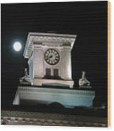 Moon Over City Hall Wood Print
