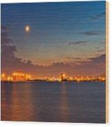Moon Over Duluth Harbor Wood Print