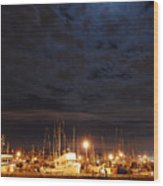 Moon Over Fishermans Terminal Wood Print