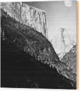 Moon Over Half Dome . Black And White Wood Print