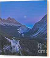 Moon Over Icefields Parkway In Alberta Wood Print