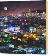 Moon Over Los Angeles Wood Print