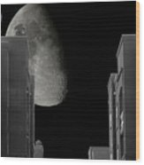 Moon Over Manhattan Wood Print