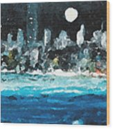 Moon Over Miami Wood Print by Jorge Delara