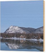 Moon Over Mont Saint Hilaire  Wood Print