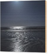 Moon Over Ocracoke Wood Print by Jeff Moose