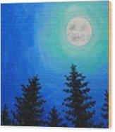 Moon Over Pines Wood Print