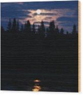 Moon Over Piprell Lake Wood Print