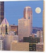 Moon Over Pittsburgh 2 Wood Print by Emmanuel Panagiotakis