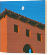 Moon Over Red Adobe Horizontal Wood Print