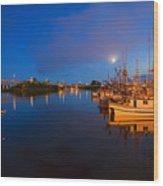 Moon Over Sitka Marina Wood Print by Mike  Dawson